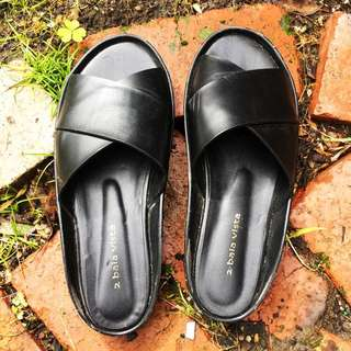 Black Leather Slides