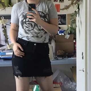 H&M black distressed denim mini skirt