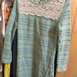 湖水綠 蕾絲襯衫❤