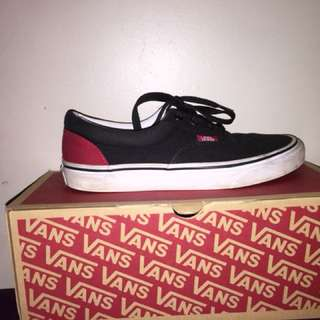 Black and Red Vans Off The Wall Low Cuts