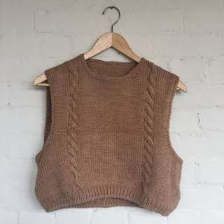 Camel cropped cable knit top