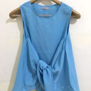 Tied Sleeveless Blue Top