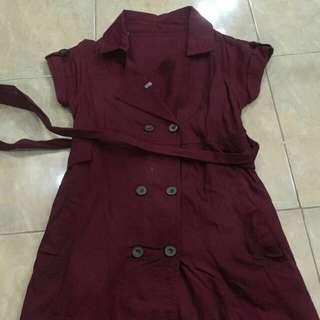 Coat dress lengan pdk marun