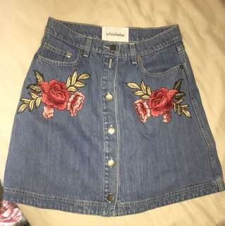 nicholas denim skirt embroidered size 8