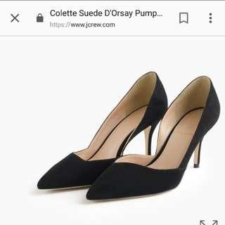 J Crew Colette Suède D'Orsay Kitten Heels 6 1/2