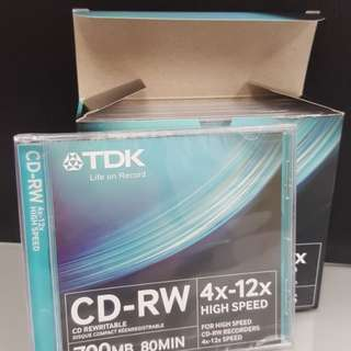 TDK CD-RW 1盒5隻