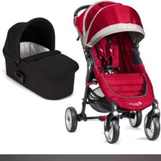 Selling Baby Jogger City Mini Stroller with Bassinet (Crimson/Grey)