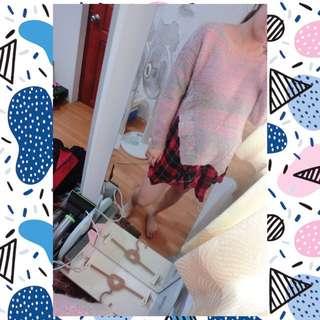 混色開衩針織毛衣