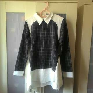 🚚 正韓製襯衫式修身拼接上衣#十月半價特賣