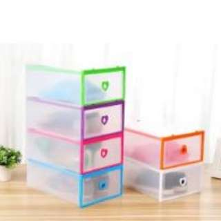 DIY transparent clear heart shoe box organizer drawer type (Assorted Color)