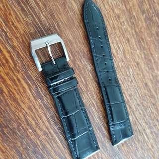 21mm genuine alligator strap band, black