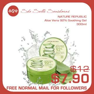NATURE REPUBLIC | Soothing & Moisture ALOE VERA 92% Soothing Gel 300ml AUTHENTIC INSTOCK