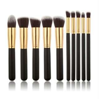 Wooden Makeup Brush Set of 10 pcs