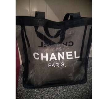 Chanel black mesh vip shoulder bag
