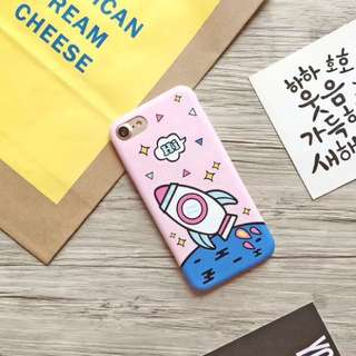 ROCKET SOFTCASE PINK/WHITE CASE CASING SOFTCASE HARDCASE JELLYCASE RUBBERCASE IPHONE 6/6s IPHONE 6+/6s+ IPHONE 7 IPHONE 7+ IPHONE 8 IPHONE 8+