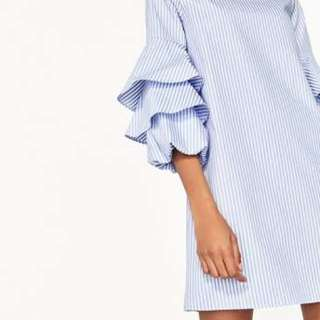 Striped dress frilled sleeves