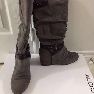 Knee high grey wedge boots size 6