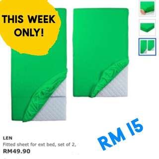 LEN kids bedsheet : smaller one for extendable bed (80x130cm) in pink & green (price per piece)