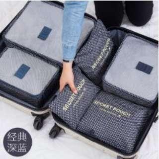 6in1 Secret Pouch Travel Organizer Set (BLUE STARS)