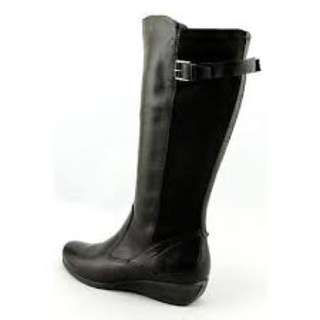 Black Boots Ecco High ZIP with small buckle leather and suede