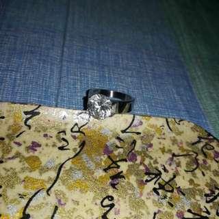 Imono stainless diamond ring size 7.