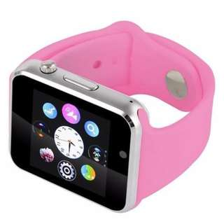 SIM Card Enabled Bluetooth Smart Watch Red Strap for Apple iOS & Android Phone