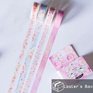 Set of 4 7 Meter Sakura Cherry Blossom Japanese Washi Tape (S2273)