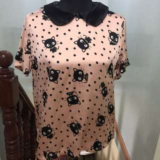 Silk Blouse Forever 21 Hello Kitty Chococat