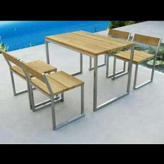 Promo paket 1 set meja dan kursi cafe minimalis industrial / meja dan kursi resto murah