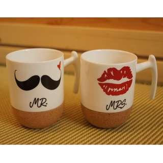 Love-KANKEI Mr and Mrs Ceramic Mugs 杯 (as wedding gift)