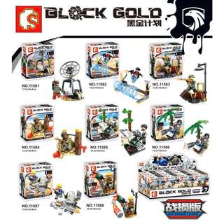 SEMBO 11581-11588 Block Gold 8in1 Minifigures Sets