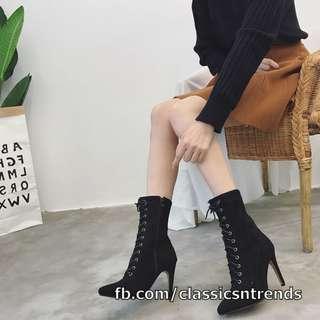 Lace Up Stiletto Heel Booties ( BLACK )