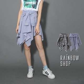 全新 Rainbow shop 腰綁帶傘擺短裙