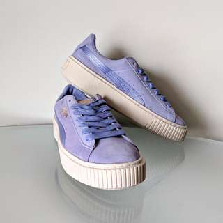 NEW Puma Suede Satin Platform Sneakers in Lavender