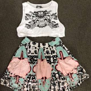 Alice Mccall house crop and skirt set