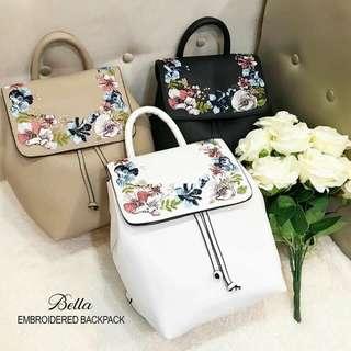bella embroidered back pack