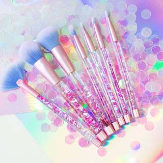 7pcs Mermaid Unicorn Liquid Glitter Blue Makeup Brushes Set with Pouch