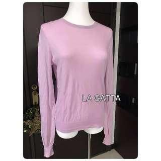 二手瑞典COS純棉粉紫色薄款長袖針織衫 S