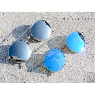 🚚 經典飛行員圓框墨鏡-偏光太陽眼鏡-不鏽鋼鏡框-彈性-開車-騎車-Myglasses個人眼鏡