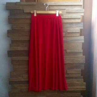 😍 Zara Inspired Red Calf-Length Long Skirt S/M