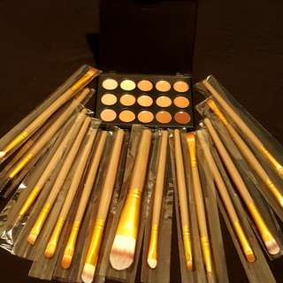 15 Pcs makeup brushes(feather)/contouring palette(brand new)
