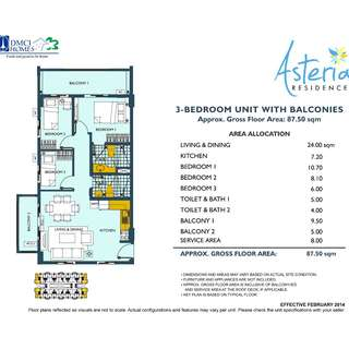 RFO 87.5sqm 3BR Unit 501 Asteria Residence Condo in Paranaque nr SM Sucat pasay airport las pinas makati alabang calathea fields residence arista place shell residence sea residence sole mare MOA bf homes