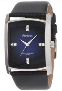 Men's 204604DBSVBK Dress Swarovski Crystal Black Leather Watch