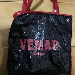 Vemar黑亮片拖特包(專櫃名牌包)