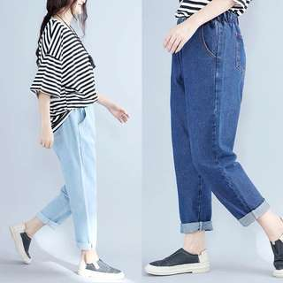 Plus Size Women's light blue and dark blue basic section elastic waist solid color loose female jeans
