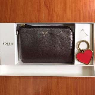 🚚 FOSSIL 星空灰手拿包+心型鑰匙圈