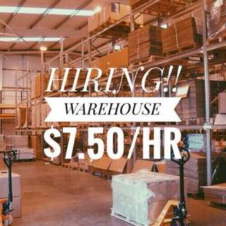 (FULL TILL FURTHER NOTICE) WAREHOUSE STOCK-TAKE $7.50/HR