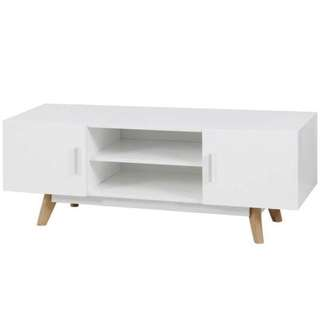 MDF TV Unit Cabinet w/ 2 Doors & Shelves in White new