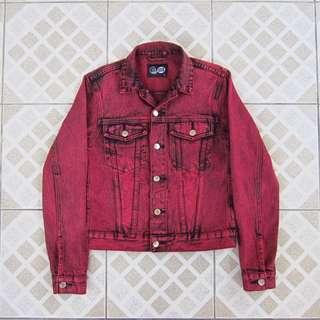 Cheap Monday Red Vital Denim Jacket Remake
