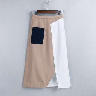 最後一條 歐美單卡其色拼白色拼接高腰A字裙